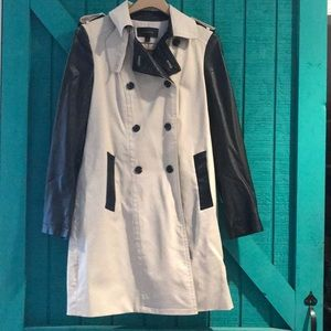 Ann Taylor leather trim trench